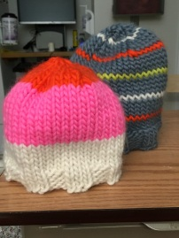Abby made us knit hats!