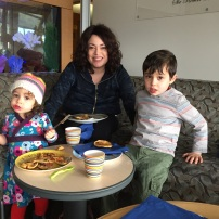 Jaren and Miri surprised Abby with weekend pancakes and smoothies