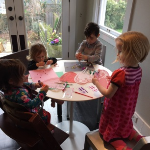 Gwen and Jane brought Valentine's day decorations for Jaren and Miri to make