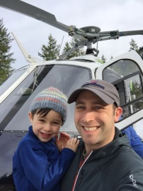We didn't heliski in Mazama this year, but Jaren loved pretending to be the pilot of heli-ski.com