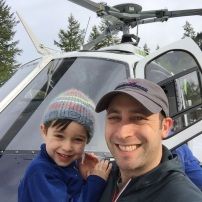 We didn't heliski in Mazama this year, but Jaren loved pretending to be the pilot of heli-ski.com