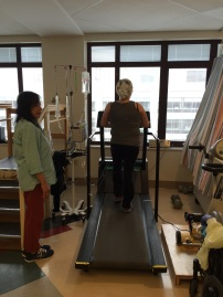 I came to UW one weekday evening during one of Abby's in-patient stays and found her getting after it in the PT wing