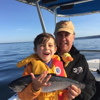 My dad took Jaren out for a morning of fishing and landed two beautiful coho salmon